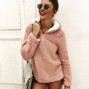 Sweaters - PREORDER Blush Pink Hooded Sherpa Sweater Jacket